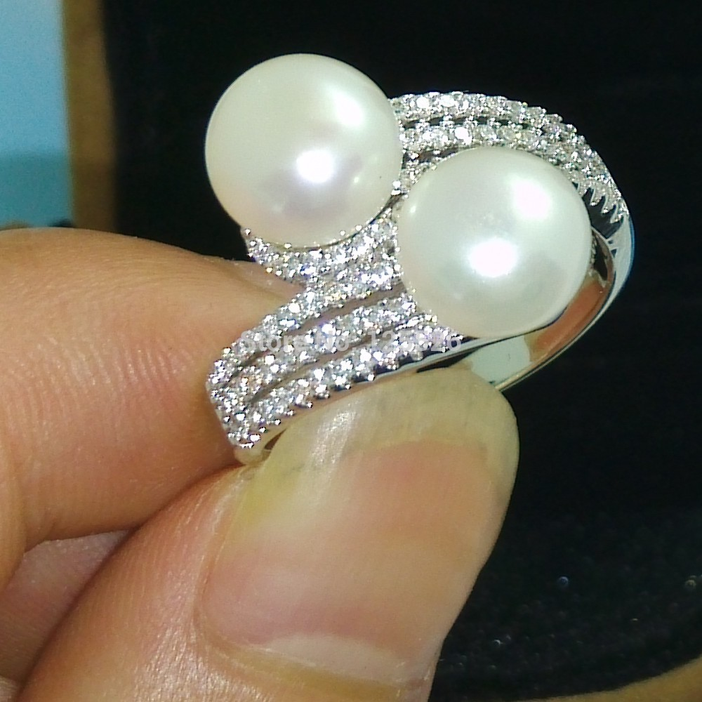choucong Brand Valuable Pearl & Stone 5A Zircon stone 925 Silver Engagement Wedding Ring Size 5-10 Free shipping Gift