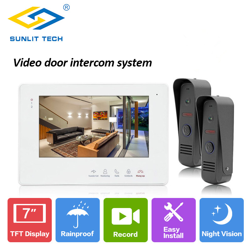 7 inch Video Intercom Home Video Door Phone Wired Doorbell Camera Monitor Outdoor Intercom Door Entry Access System Security homsecur 7 wired video door phone intercom system rfid access with memory monitor for home security