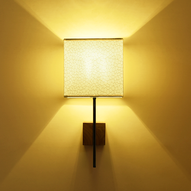 Moderne Wandleuchte Lichter Led E27 Birne Stoffschirm Holz Basis Aufbau Neben Schlafzimmer