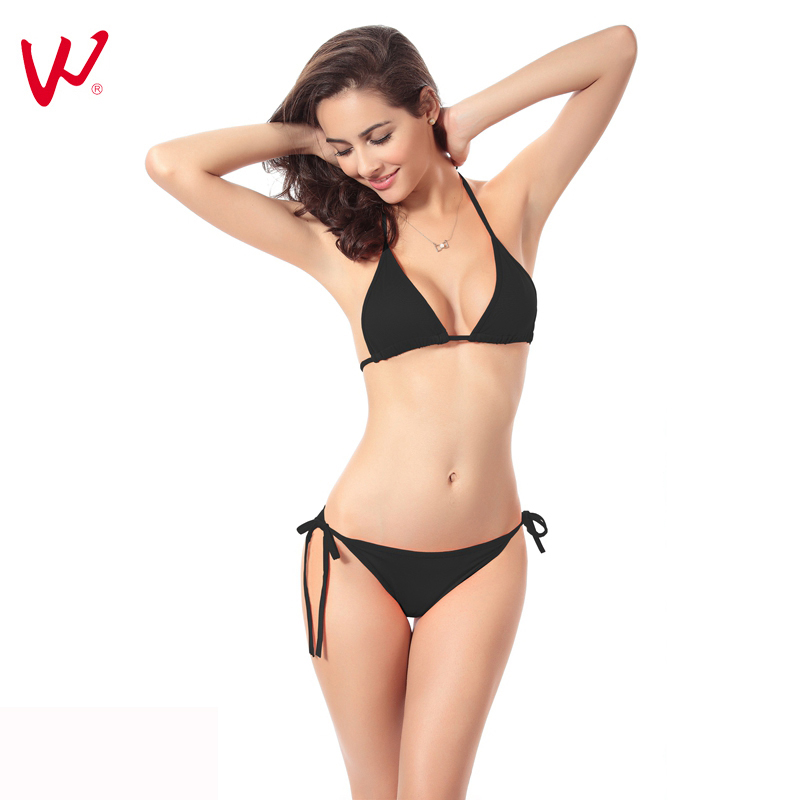 Push Up Female Bikinis 2017 New Sexy Swimsuit Women Candy Colors Mid Waisted Bathing Suits Swim Halter Bikini Set Swimwear da hai 2017 new sexy bikinis women swimsuit high waisted bathing suits swim halter push up bikini set plus size swimwear 3xl