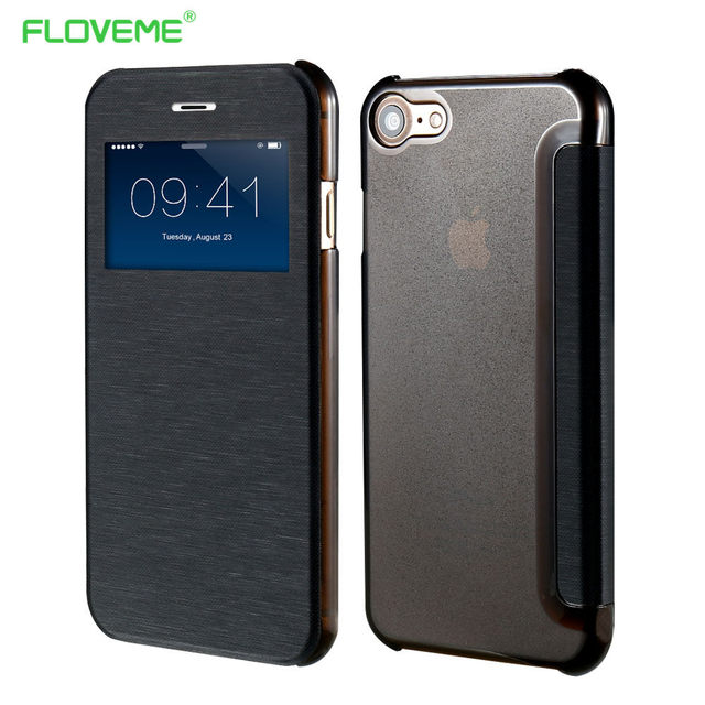 Flip Case For iPhone 7 Plus Clear Window Leather Matte Touch Phone ...