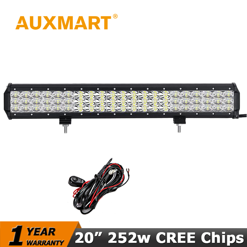 Auxmart 20 LED Car Light Bar Triple Row CREE Chips 252W Offroad Driving Spot Flood Beam fit Pickup Truck SUV ATV 4X4 Wagon jeep cree red round 7inch 90w led bar 3d lens spot beam offroad led work light bar trailer car truck 4x4 atv suv auto driving lamp12v