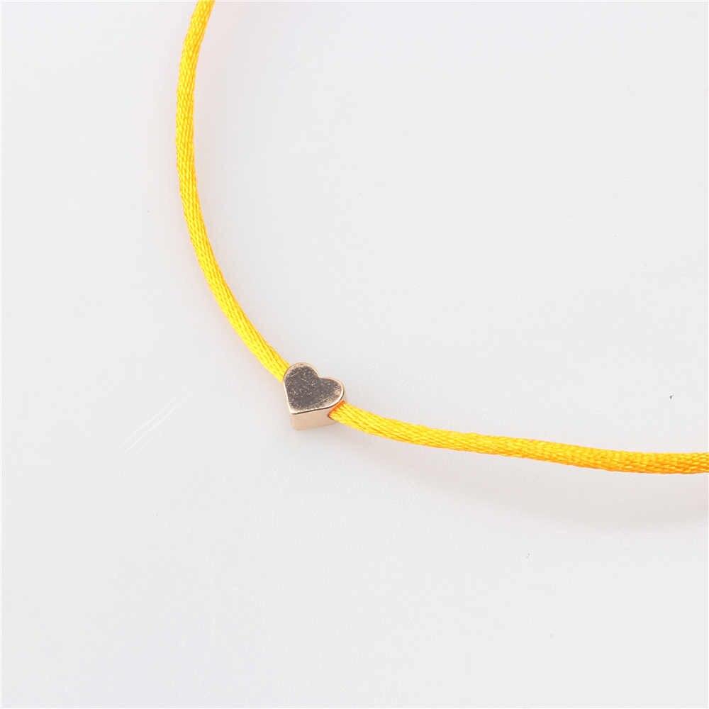 Romantyczne złoto kolor serce proste nici bransoletka sznurkowa dla kobiet mężczyzn ręcznie czerwona nić liny biżuteria Friendshiop