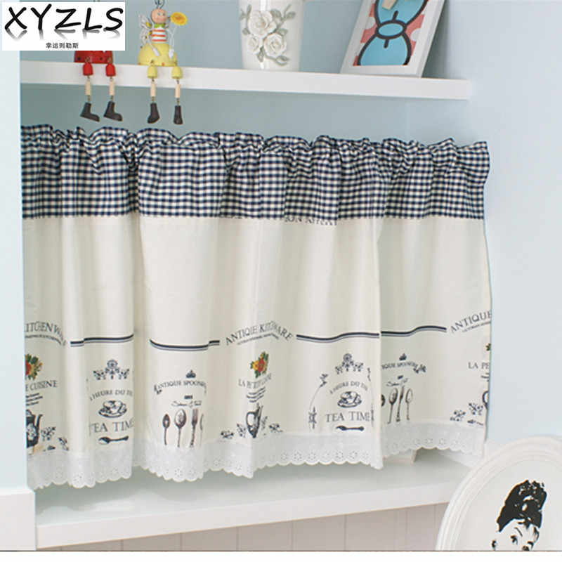 XYZLS Modern Elegant Minimalist Blinds Kitchen Curtain Cafe Half-curtain Short Panel Drapes Door Curtains Valance