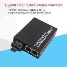 Fibra Ottica Media Converter Gigabit 10/100/1000 Mbps modalità Singola Duplex In Fibra di Lunghezza Donda 1310nm 20 km 1 SC per 2 RJ45 Connettore