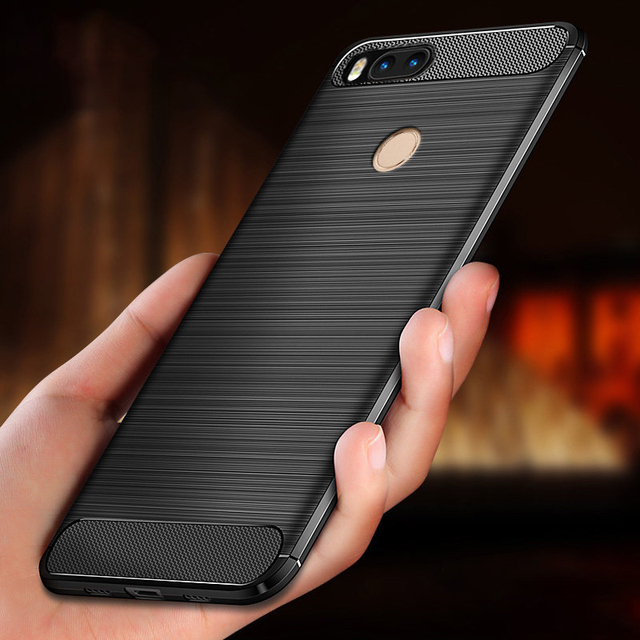 Funda protectora de silicona TPU para xiaomi mi a1, funda trasera de fibra de carbono para Xiaomi Mi5X Mi 5X MiA1 4GB 32GB 64GB