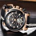 Neue LIGE Männer Uhren Top-marke Luxus Leder Sport Automatische Uhr Große Zifferblatt Wasserdichte Mechanische Uhr Relogio Masculino + Box