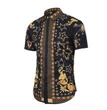 купить Printed Shirt Men Chemise Hip Hop Casual Shirt Tops Short Sleeve Turn-Down Collar Summer Fashion Homme Mens Blouse Plus Size дешево