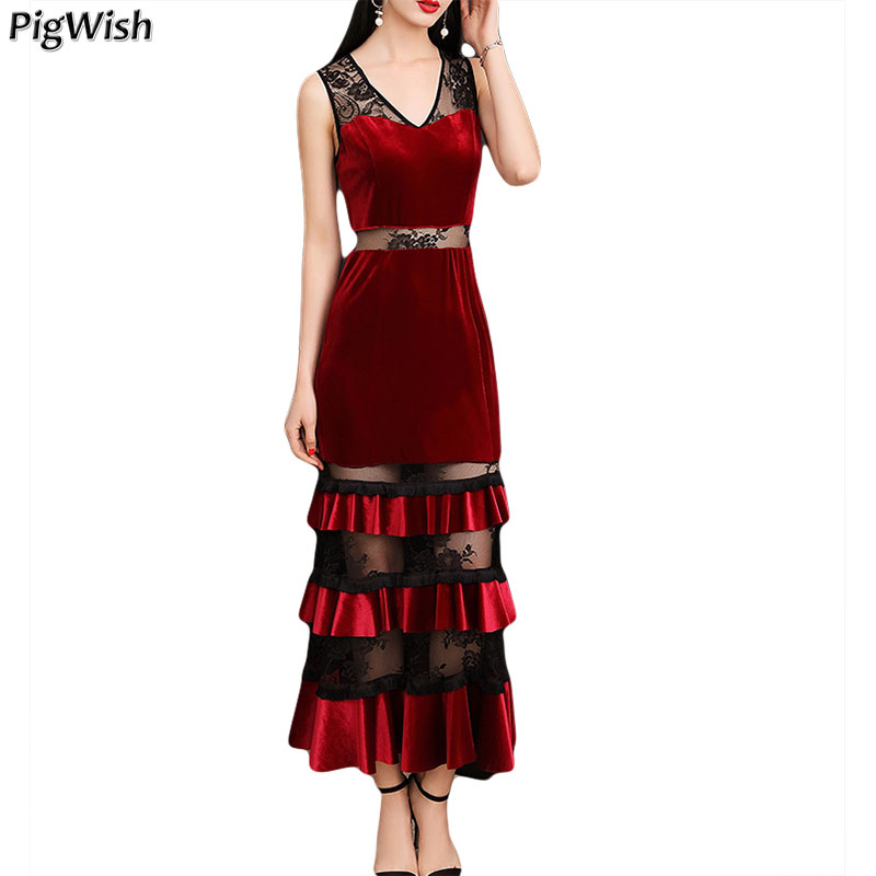 Party Dress Vestido 2018 Summer Dress Elegant Sexy V Neck Velvet Dress Black Wine Red Robe Longue Femme Dresses round neck ladies sweater dresses cotton knitted 2018 summer womens mini dresses long sleeve party dress robe longue femme q1