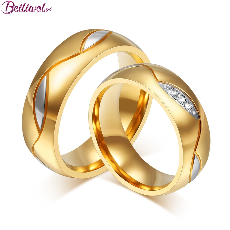 Beiliwol Trend Wedding Rings for Women Fashion 316L Stainless Steel Crystal Zircon Stone Gold-color Couple Jewelry Drop Shipping