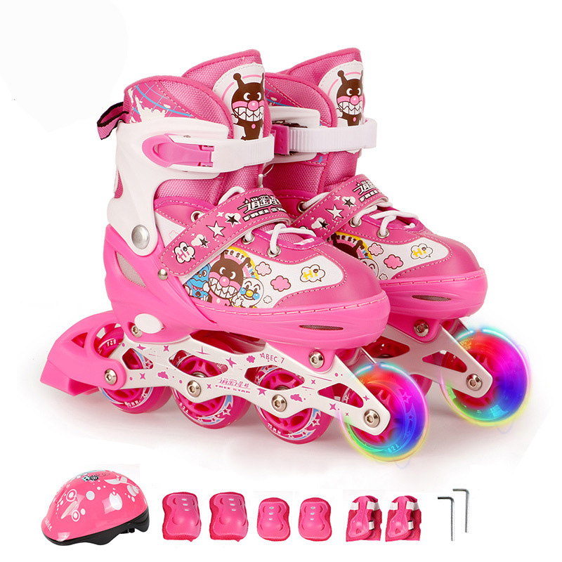 One Set Adult Children Lovely Inline Skate Roller Skating Shoes Helmet Knee Protector Gear Adjustable Washable PU Wheels Patines 7pcs xiaomi skating cycling helmet knee pads elbow wrist brace set