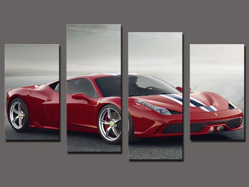 Hot Sell 4 Panel Red Sports Car Large HD Decorative Art Print Painting On  Canvas For Living Room Wall Paintings Pictures In Painting U0026 Calligraphy  From Home ...