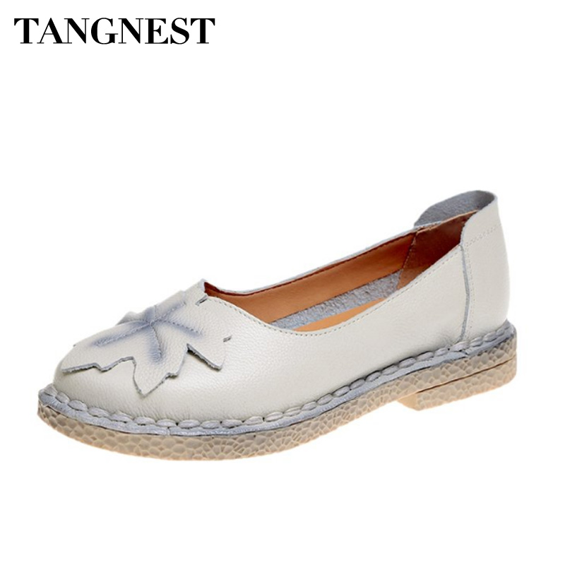 Tangnest Women Loafers Shallow Slip On Casual Women Shoes Solid Round Toe Comfortable Fashion Women Flats Spring New XWD6477 new shallow slip on women loafers flats round toe fishermen shoes female good leather lazy flat women casual shoes zapatos mujer