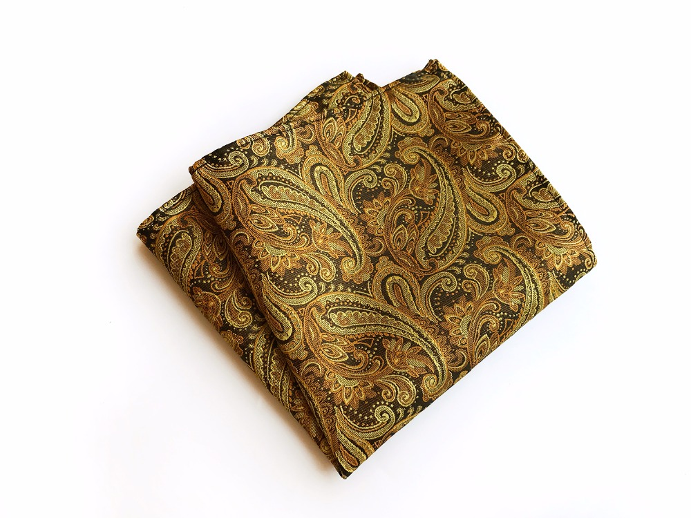 25x25 Fashion Men Handkerchief Wholesale Luxury Golden Paisley Hanky