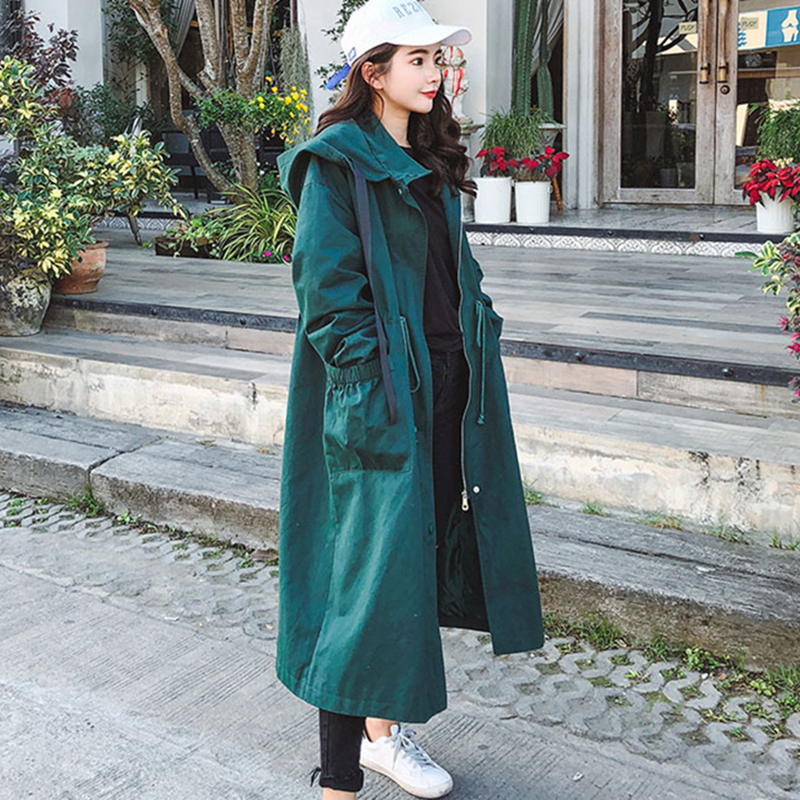 2018 Autumn New Women s Long Casual trench coat oversize Hooded Long Sleeve Korean Style Students