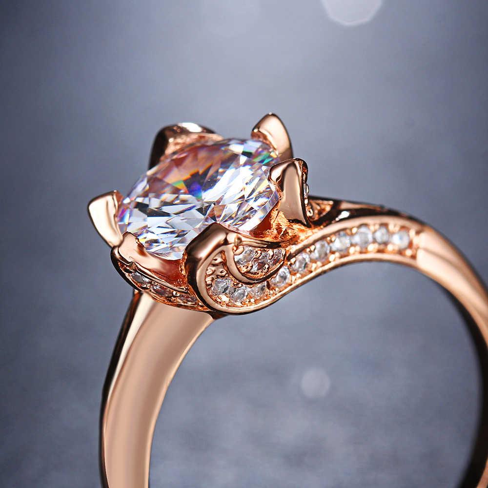 AY แฟชั่น Cubic Zirconia Rose Gold Silver สีหญิงแหวนสาน Morganite ใบรูปร่างแหวนสำหรับเครื่องประดับงานแต่งงานของผู้หญิง