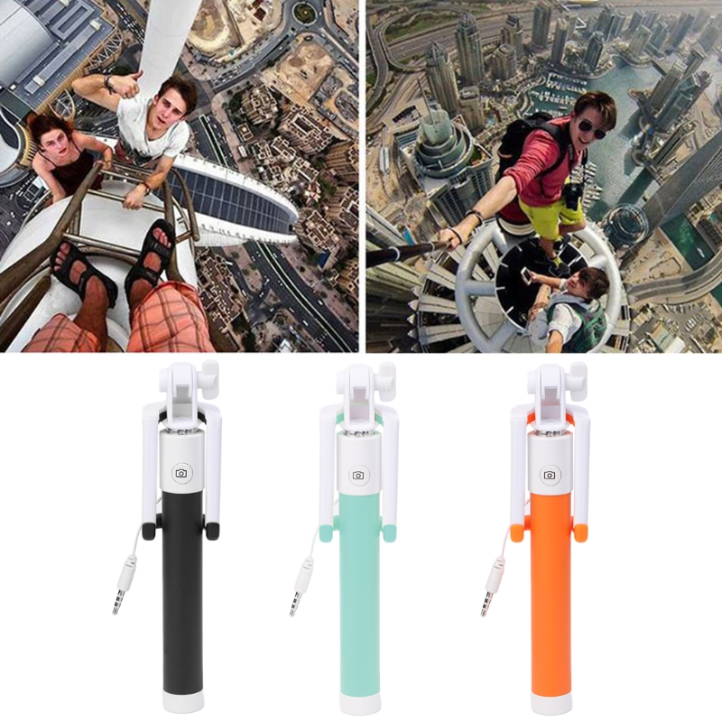 OOTDTY   Mini Folding Wire Control Extendable Selfie Stick With Adjustable Phone Holder