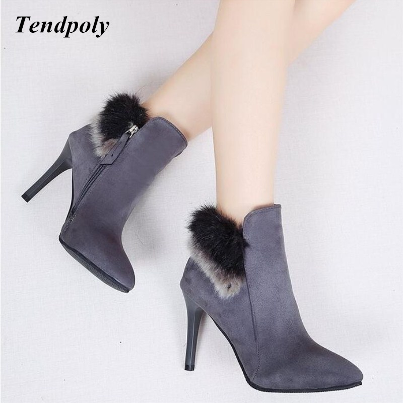 Autumn winter new European and American style casual shoes fashion tip high heels hot models section of the trendy Women's boots