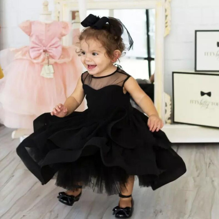 Black Flower Girls Dresses for Wedding With Headpiece Tiered Ball Gowns Baby Girls Birthday Party Gown