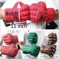 1 par 11 pulgadas araña Cosplay Locke rocas Incredible Hulk Smash verdes manos dibujos animados guantes de felpa 4 color