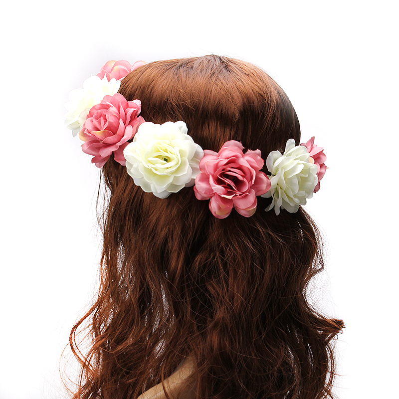 M MISM 2017 Women Rose Flower Crown Hair band Wedding Flower Headband Garland Festival Flower wreath Elastic Hair Accessories jv женское серебряное кольцо с куб циркониями wr25926 bw1 001 wg 16