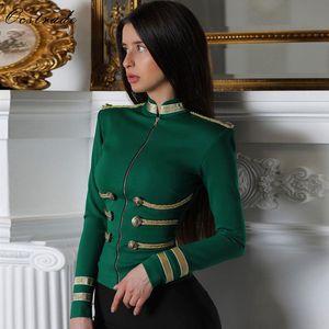 Image 1 - Ocstradeผู้หญิงแจ็คเก็ตฤดูใบไม้ผลิฤดูใบไม้ร่วงCoat 2020 ปาร์ตี้คุณภาพสูงสีเขียวPLUSขนาดยาวแขนเสื้อเสื้อBodycon