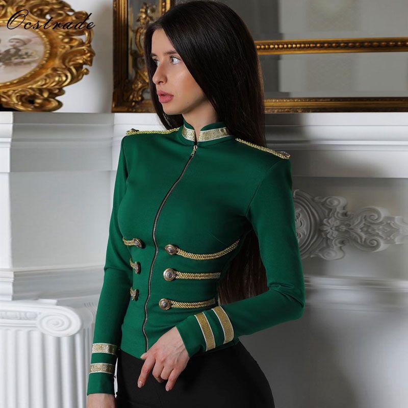 Ocstrade femmes vestes printemps automne manteau 2019 fête de haute qualité vert grande taille élégant à manches longues Bandage veste moulante