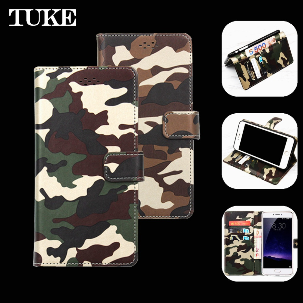 TUKE Camouflage Patterns Case for Alcatel Pop 4 Plus Flip Leather Cover for Alcatel 5056d Wallet Fundas for Alcatel Pop4 Plus