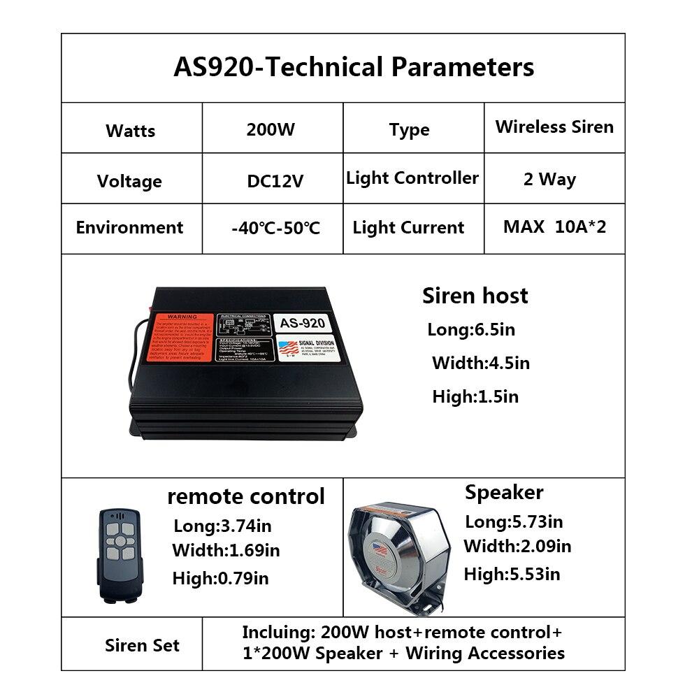 As920 Car Amplifier Police Siren Dc12v 200w Mulit Tones Electronic Multitone Alarm Circuit Diagram Wireless Handheld Microphone Loudspeaker Emergency Horn In Burglar From