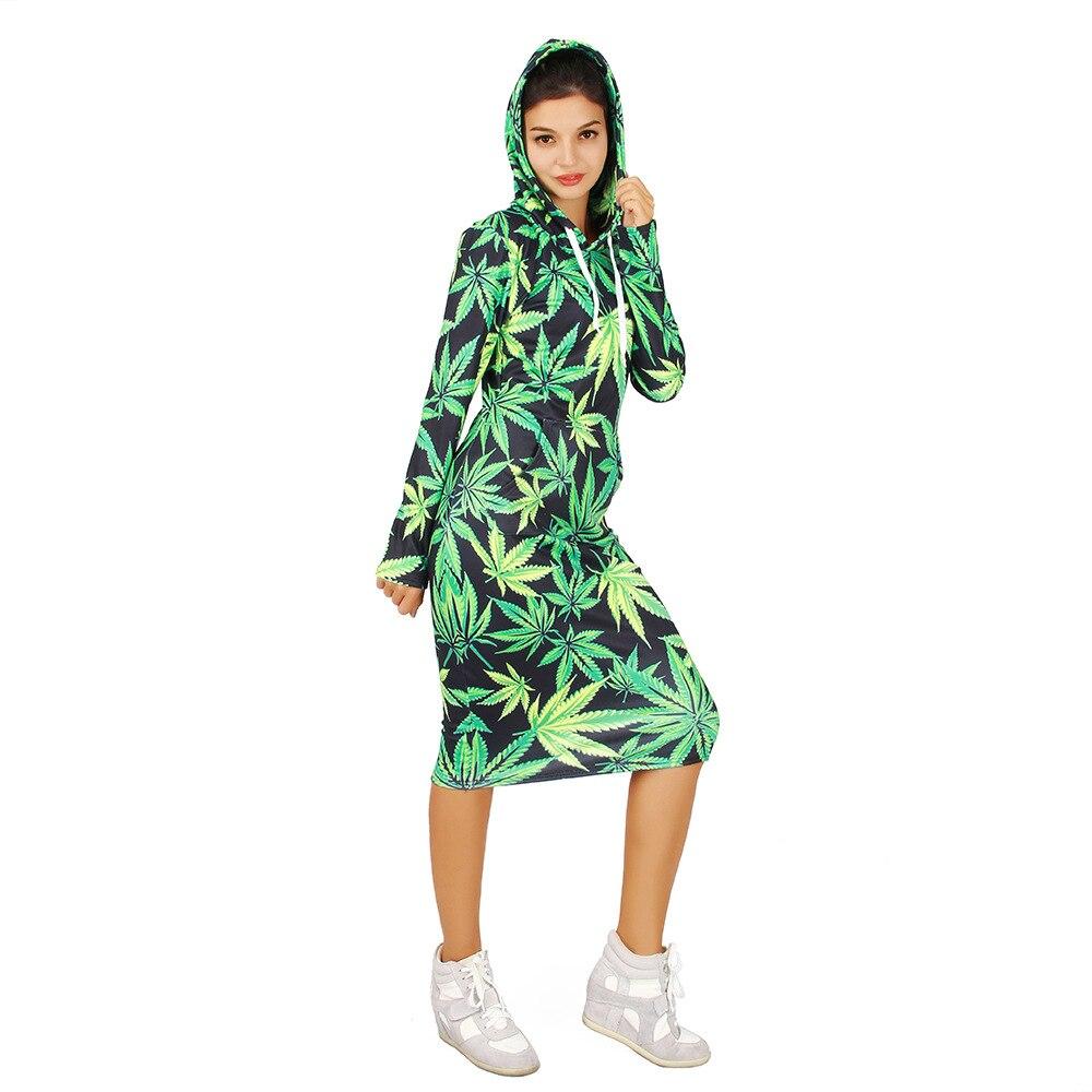 2018 3D Green Weed Print Hoddie Women Dress Long- Sleeve Hooded Dresses Pullovers Hoodies Long Dress With Hat