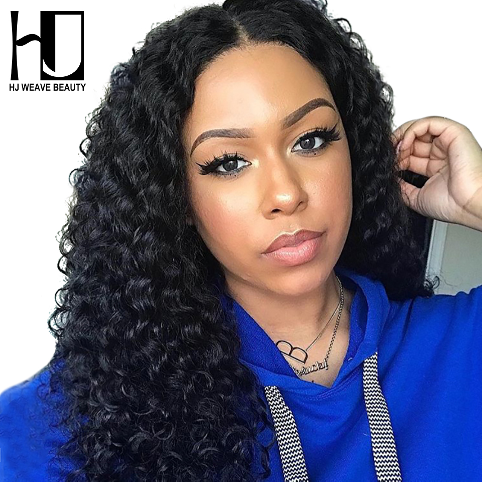 HJ WEAVE BEAUTY Lace Front Human Hair Wigs Deep Wave Indian Hair Lace Wigs For Black Women Pre- Plucked Hairline(China)