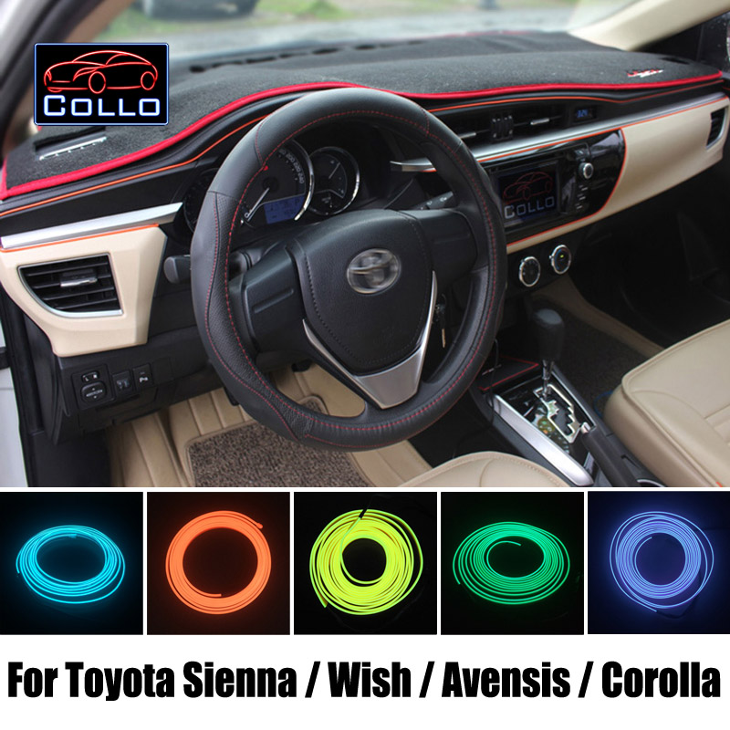 9 Meter EL Wire For Toyota Sienna / Wish / Avensis / Corolla Wagon / Romantic Atmosphere Lamp / Car Decoration Cold Light Line bluetooth link car kit with aux in interface for toyota corolla camry avensis hiace highlander mr2 prius rav4 sienna yairs venza
