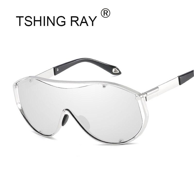 TSHING RAY Übergroßen Schild Sonnenbrille Männer Frauen Promi Hip Hop Metall Rahmen Große Sonnenbrille Männlich-weibliche Retro Stilvolle Goggle