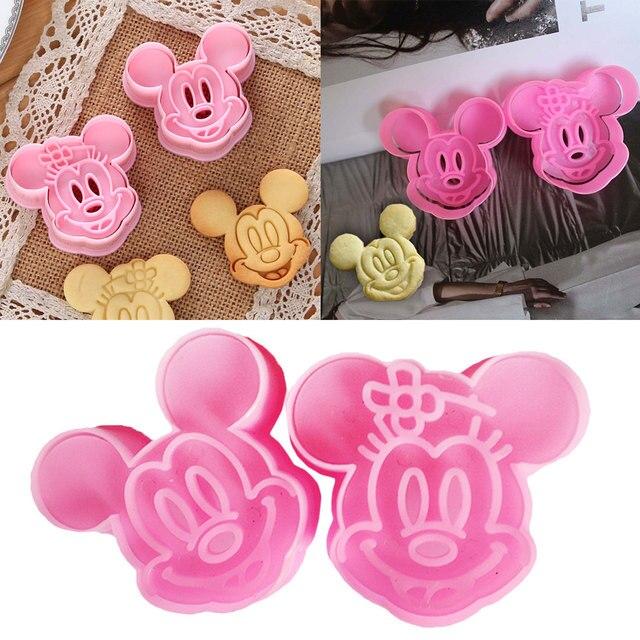Hele Koop Mickey/Minnie Fondant Cake Cookie Decorating Sugarcraft Mold Plunger Cutter 2 stks