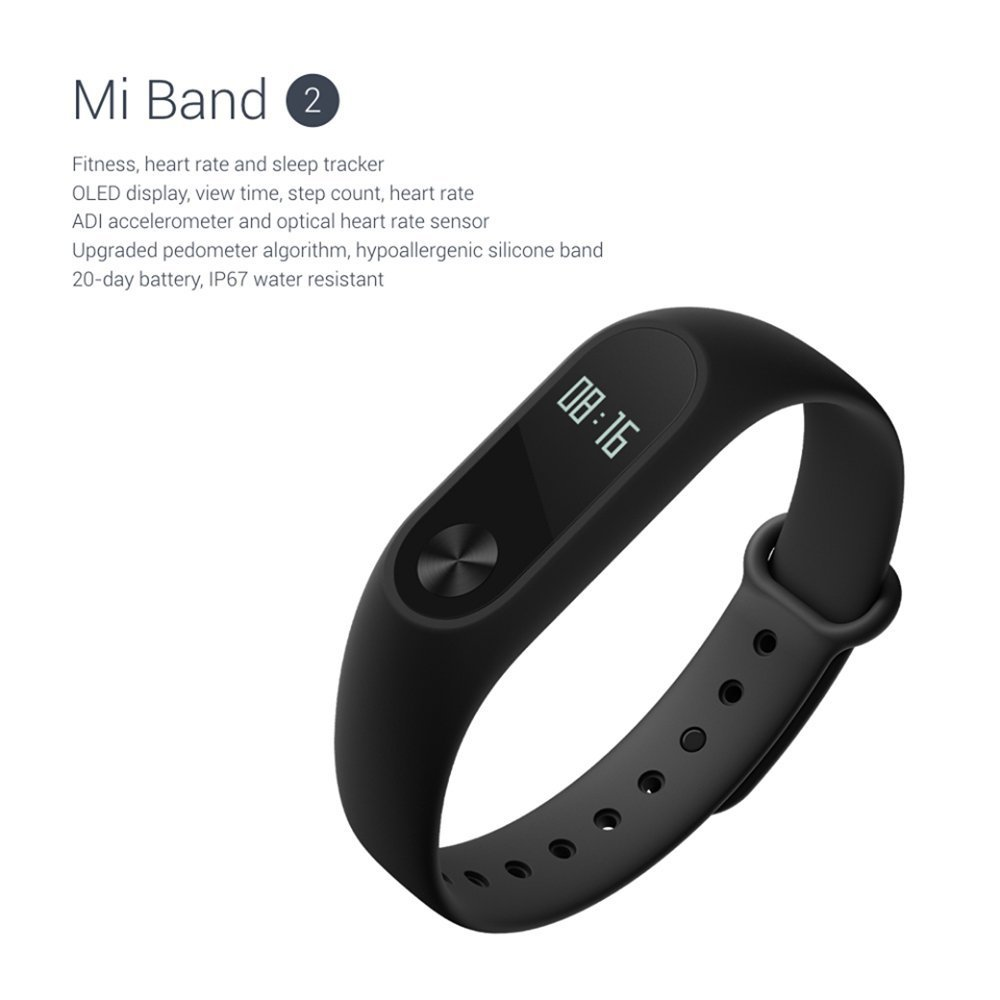 In Stock! 2017 Original Black color Xiaomi Mi Band 2 Heart Rate Monitor Smart Wristband With OLED Display