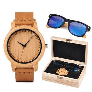 Image 2 - Relogio masculino בובו BORD במבוק גברים שעון עץ משקפי שמש חליפת הווה קופסא מתנת סט נשים שעונים מקבלים לוגו זרוק Shiping