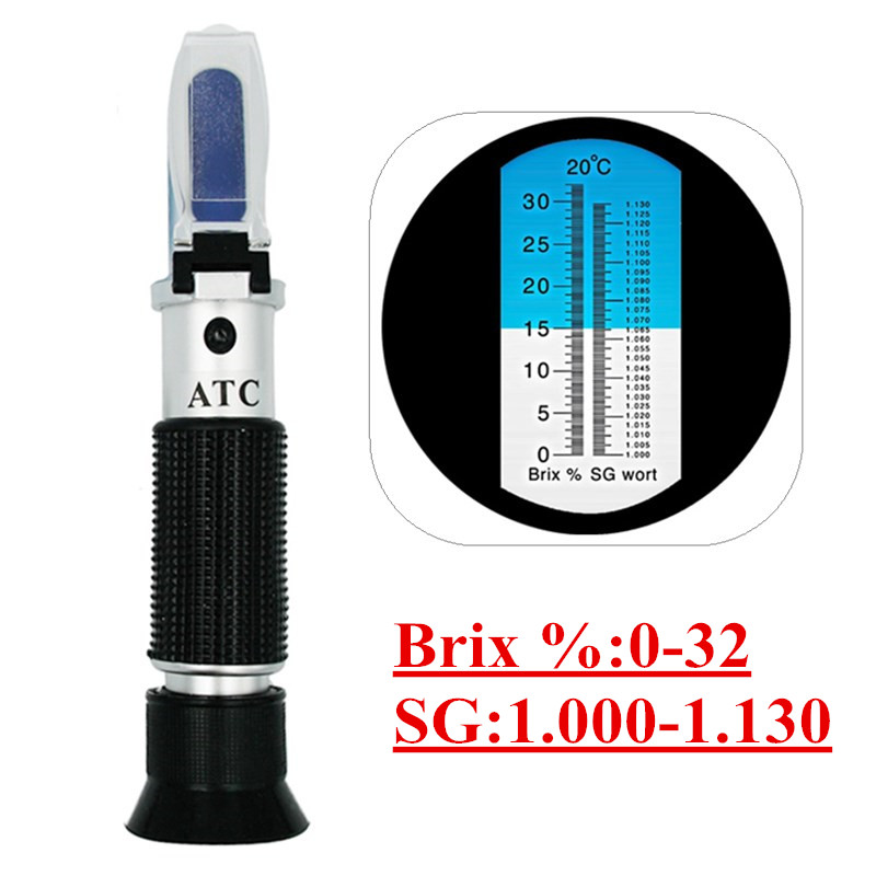Refractometer Beer Wort Wine Brix Refractometer ATC SG 1.000-1.130 & Brix 0-32%, for Refractometer Sugar Wine Beer Fruit 40%Off brewing sugar refractometer atc with brix scale 0 32