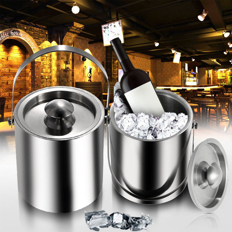 (Shipping From EU) 2L Stainless Steel Ice Bucket with ice tongs for Wine Beer Ice