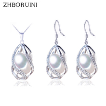 ZHBORUINI Pearl Jewelry Set 925 Sterling Silver Jewelry Natural Freshwater Pearl Beads Cage Necklace Earring Set For Women Gift snh 925 sterling silver set natural freshwater pearl jewelry set bridal wedding jewelry set necklace earrings set for women