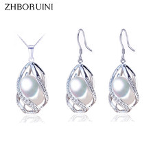 ZHBORUINI Pearl Jewelry Set 925 Sterling Silver Jewelry Natural Freshwater Pearl Beads Cage Necklace Earring Set For Women Gift(China)