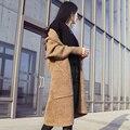 VENTA CALIENTE Puerta Dongguk Otoño Las Mujeres Coreanas Mezcla Suelta Chaqueta de Punto Grueso Suéter Largo Abrigo Girls D951
