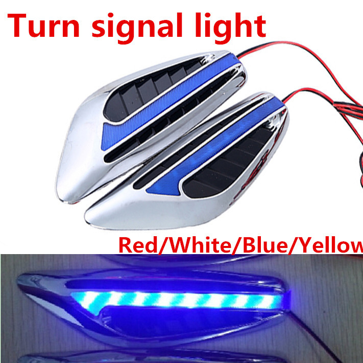 1pair Universal Steering Light Fender Side Lamp DC12V Blade Shape Auto Car LED Side Lights Turn Signal Lights Car Styling