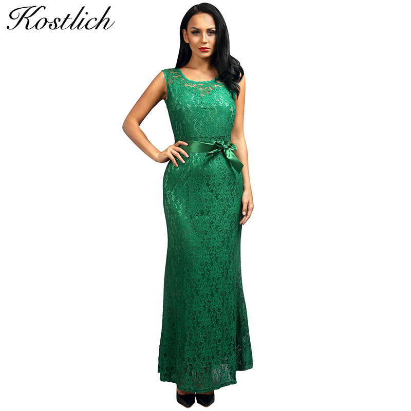 492fcedd0be0f Kostlich Summer Women Long Dress UK Green Elegant Prom Fashion Casual Ladies  Maxi Clothes Evening Party O-Neck Lace Dresses