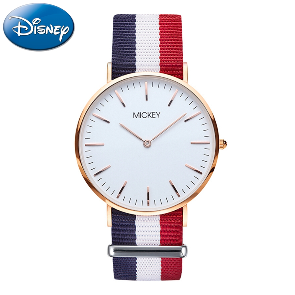 Disney Women Simple Ultrathin Nylon Canvas Band Watch Mickey Mouse Ladies Quartz Waterproof Wristwatch Student Clock Gift 11099 100% genuine disney mickey mouse women quartz wrist watch with brand box packaging for 2016 birthday gift 30m feet waterproof