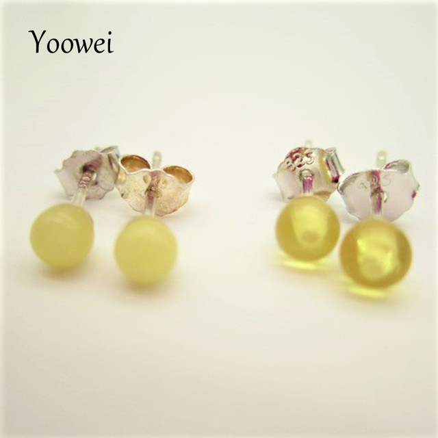 Yoowei Natural Amber Earrings Sets 100 Baltic Factory Jewelry Honey Gold Round 3