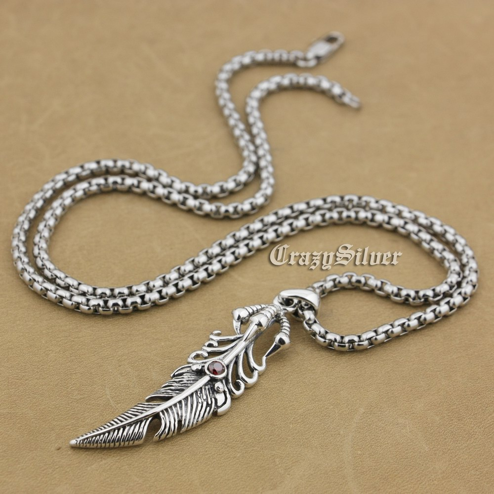 925 Sterling Silver Claw Feather Red CZ Stone Mens Biker Rocker Punk Pendant 9S025(Steel Necklace 24inches) eagle claw alloy feather necklace