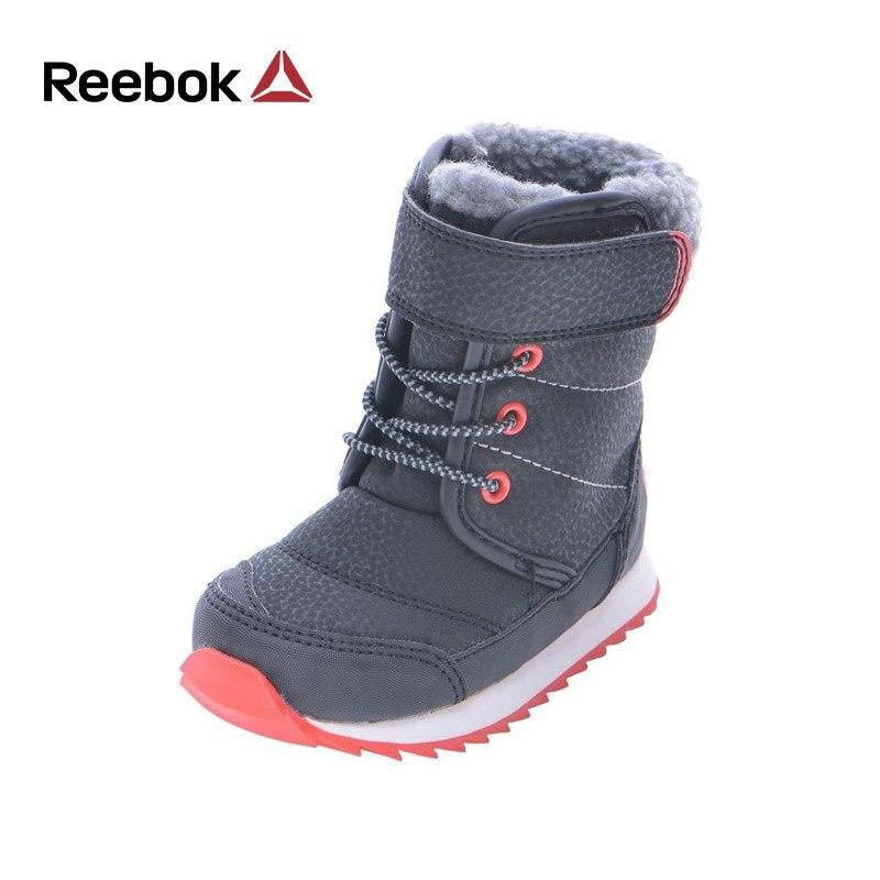 Reebok зимние ботинки Обувь для мальчиков Обувь для девочек плотные теплые кожаные плюшевые флис до середины икры для детей ясельного возраст...