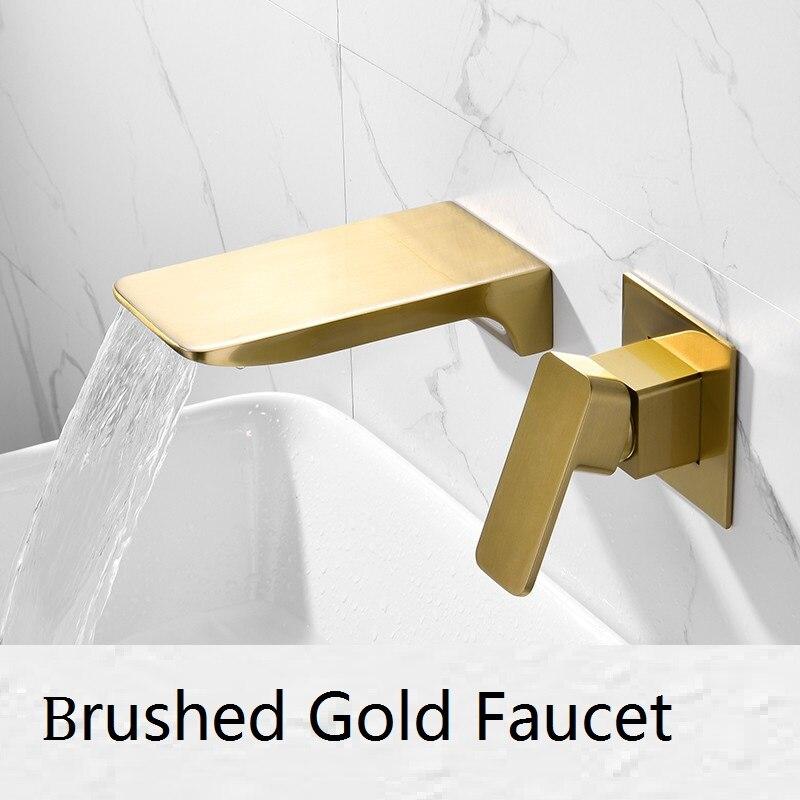 Роскошный настенный матовый золотой смеситель для раковины латунь черный водопад кран горячий холодный смеситель ванная скрытая раковина