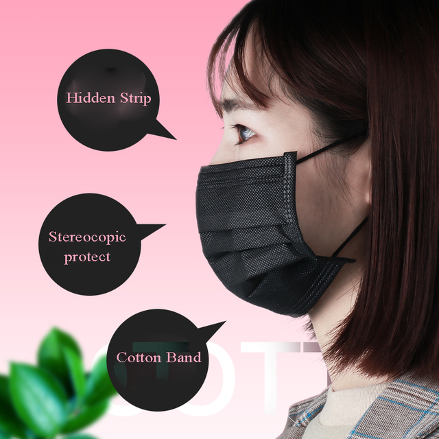 50 piezas de máscara de boca negra desechable suministros de 4 capas de diseño de mascarilla facial no vowen para Microblading accesorios de tatuaje belleza salón de belleza