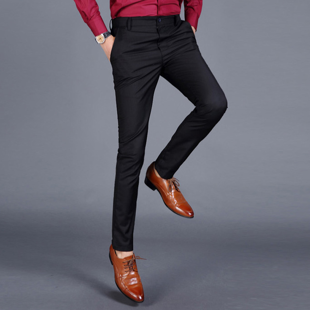 396a97231 Brand Fashion new thin Slim Fit Polyester Black Cotton Suit Pants men office  Business Formal Design Trouser Party pants 4 color